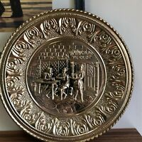"""Vintage Ye Olde England Brass Gold tone Finish Embossed Wall Plate Plaque 12"""""""