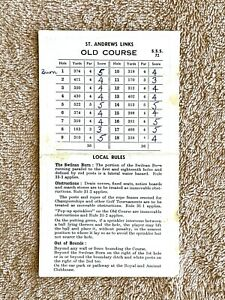Vintage St. Andrews Links Old Course Golf Scorecard
