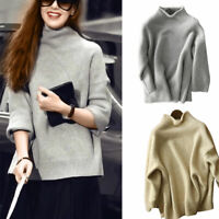 Fashion Women Knitted Cashmere High-Neck Warm Pullover Sweater LongSleeve Casual