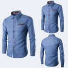 Mens Long Sleeve Dress Button Down Causal Shirt Fancy Solid Slim Fit Contrast