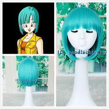 Drogon Ball Bulma Teal Green Short Straight Bob Anime Cosplay Wig +a wig cap