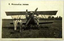 Cartolina Fotografica Regia Aeronautica Italiana - Aereo Con Meccanici E Piloti