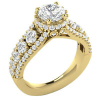 Round Diamond I1 G 2.55 Ct Solitaire Anniversary Ring Prong Set 14K Yellow Gold