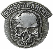 Men's Sons of Anarchy SOA Embossed Gunmetal Cracked Skull Belt Buckle