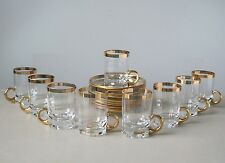 Vintage Czech Bohemian Gold Trim Glass Demitasse Cups and Saucers, Set of (9)