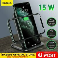 Baseus 15W Qi Wireless Fast Charger Charging Pad Holder for Samsung iPhone 11 XS