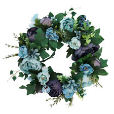 Artificial Peony Flower Door Wreath Rattan Garland Wedding Venue Decor 38cm