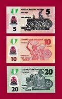NIGERIA UNC NOTES 5 NAIRA 2018 (P38), 10 NAIRA 2019 (P39) & 20 NAIRA 2018 (P34)