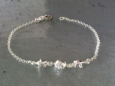 """Solid Sterling Silver Starfish Beach Bracelet 7.25"""" Long 3.0 Grams Made in Italy"""