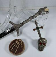 Pewter Dragon/ Serpent Letter Opener, Sword in Skull & Bony Hand Lot- 3 pieces