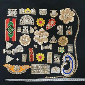 36 pcs sari scrap appliques Trims Ribbons Laces Borders DIY Craft patchwork