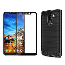 Coque silicone brossé noire + verre trempé contour noir pour Xiaomi Pocophone F1