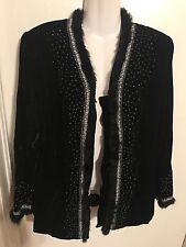 Donna Vinci Couture Black Fur Studded Embellished Blazer Size 12