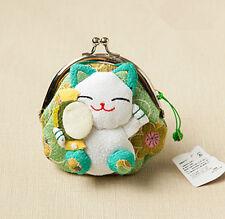 Japanese Silk cute Lucky Cat Maneki Neko Coin Change Wallet Purse Bag green gift