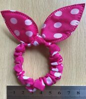 A Pink And White Spot Bow Silky Mini Scrunchie Ponytail Band Bobble