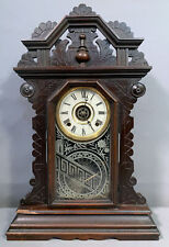 New ListingAntique Victorian Old Gingerbread Wood Kitchen Style Mantel Mantle Clock