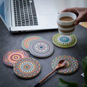 Mandala Ceramic Cup Coaster Glass Drink Holder Place Mat Tableware Home Kitchen