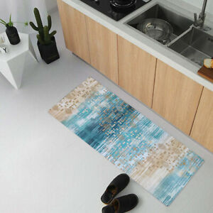 Blue laundry room non-slip rubber floor mat durable waterproof mat 20x48 inches