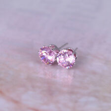 Pink silver plated Austrian crystal 8mm stud earrings