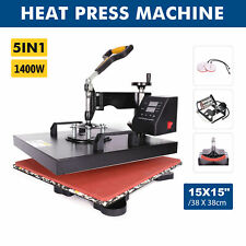 5 In 1 Heat Press Machine Swing Away T Shirt Mug Hat 15x15 Digital Transfer