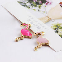 5/10Pcs Flamingo Pendant Necklace Charm Jewelry Finding Crafts Making Accessory