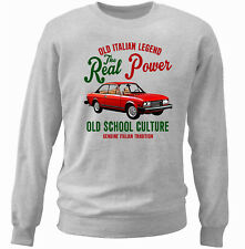 VINTAGE ITALIAN CAR FIAT 124 SPORT COUPE INSPIRED - NEW COTTON SWEATSHIRT