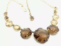 "Vintage Gold Tone Smokey Quartz Citrine Paste Glass Stone 17.5"" Long Necklace"