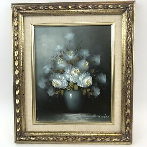 Original Oil On Canvas Parisian Floral Provenc Roses Still Life Framed Francoise
