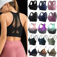 Womens Sports Seamless Yoga Bra Tank Tops Padded Fitness Gym Workout Racerback O