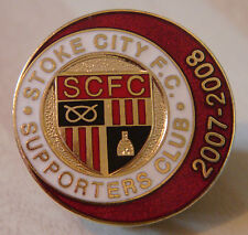 STOKE CITY FC 2007-2008 SUPPORTERS CLUB Badge Brooch pin In gilt 26mm Dia