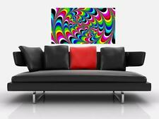 """PSYCHEDELIC TWISTS BORDERLESS MOSAIC TILE WALL POSTER 35"""" x 25"""" TRIPPY HIPPIE N2"""