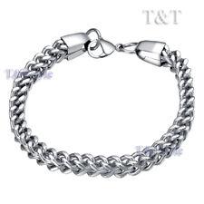 T&T 7mm S.Steel Square WHEAT Chain Bracelet Silver CB14