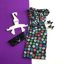 Vintage Barbie Apple Print Sheath Dress TM Tag w OT Shoes Clutch & Hanger #917