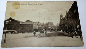 WIGAN MARKET STREET & MARKET HALL REAL PHOTO POSTCARD c 1910-15      824