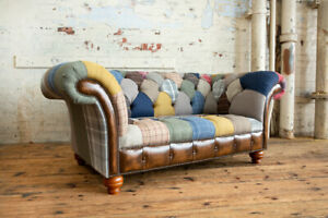 HANDMADE 2 SEATER MULTI COLOUR WOOL & LEATHER PATCHWORK CHESTERFIELD SOFA
