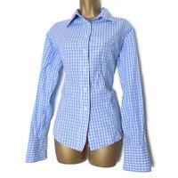 TM Lewin Ladies Shirt Size 12 Cufflink Cuff 100% Cotton Blue Gingham Blouse Work