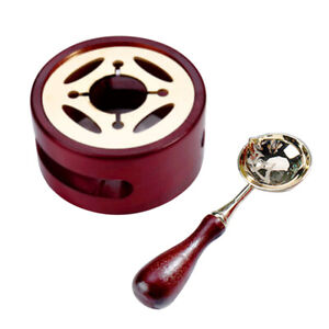 Wooden Wax Seal Stamp Warmer Melting Copper Spoon Melting Furnace Set DIY Tool
