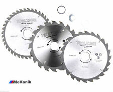 184MM TCT CIRCULAR SAW BLADES X 3PC 20, 24 & 40 TEETH 3 ADAPTER RINGS FITS 185MM