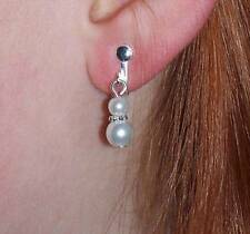 Pearl Silver Plated Drop/Dangle Costume Earrings