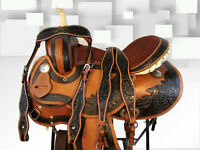 15 16 DEEP SEAT BARREL RACING SHOW PLEASURE TRAIL BROWN WESTERN HORSE SADDLE SET