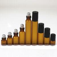 3~100pcs 1ml ~ 10ml Amber Glass Roll on Bottles Metal Roller Ball Essential Oils