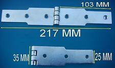 Lot 4 Grandes Charnières ,Acier Zingué,,Long 217 mm,,Larg 35 mm,Epaisseur 2,5 mm