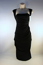 Nicole Miller Collection Elegant Black Ruched Cocktail Dress...M  ~NeverWorn~