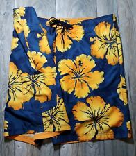 "Speedo Mens Board Shorts Large Orange Blue Up to 42"" Waist Inner Lined Surf Swim"