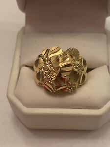 10 Kt Gold  Men Nugget Ring Size 10.5