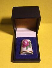 Royal Copenhagen B&G Porcelain Thimble White Gold Rose Denmark ~ ORIGINAL BOX!