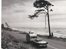 "*Postcard-""Car Pulling Small Trailer Along The Beach Coast""... (C21)"