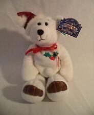 Christmas Holiday Plush Bear White Holly Limited Treasures Numbered Box Tag 1998