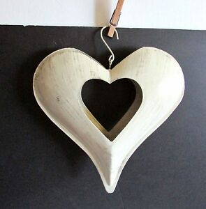 """Heart Shape Metal Candle Holder Wall Door Hanger Distressed Ivory 11"""" FREE SH"""