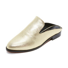 Robert CLERGERIE Alicen Alice Leather Mules Slides in Gold Size 40